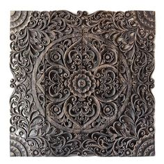 Lace white contemporary bed panel. Handmade wood wall art hanging from Bali. Authentic Asian home decor from tropical country.