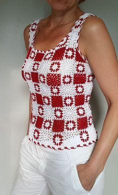 "diy_crafts- Sexy crochet dress PATTERN, granny squares crochet dress PDF, CHART and basic… ""Small Granny Motif - Free Crochet Diagram - See Cloth Débardeurs Au Crochet, Pull Crochet, Gilet Crochet, Mode Crochet, Crochet Shirt, Crochet Diagram, Crochet Woman, Crochet Granny, Crochet Baby"