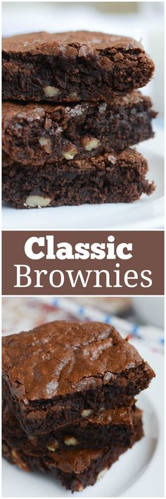 Classic Brownies - rich and fudgy classic brownies with pecans! These will fix all of your chocolate cravings! Easy No Bake Desserts, Best Dessert Recipes, Cheesecake Recipes, Easy Desserts, Delicious Desserts, Pie Recipes, Brunch Recipes, Easy Recipes, Best Chocolate Desserts