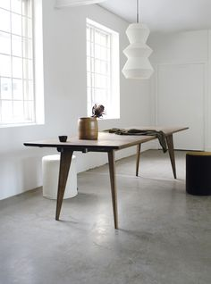 Viken has roots in simplicity and functionality from Scandinavian modernism. With slanted legs and rounded table top the expression is visually light, almost floating. Dining Room Furniture, Dining Bench, Furniture Design, Minimalist Bedroom, Minimalist Decor, My Room, Nest, Room Decor, Lights