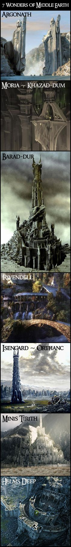 7 Wonders of Middle Earth. Oh how I wish these places were real!! Lord of the Rings