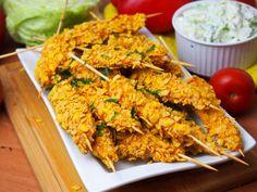Szefowa w swojej kuchni. ;-): Pieczone nuggetsy na patyku Tandoori Chicken, Shrimp, Grilling, Meat, Ethnic Recipes, Impreza, Food, Business, Crickets