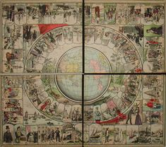 George Glazer Gallery - Antiques - Around the World in 80 Days Game Board after the Novel by Jules Verne Around The World Games, Around The World In 80 Days, Around The Worlds, Antique Prints, Antique Toys, World Of Tomorrow, Map Globe, New Year 2017, World Globes