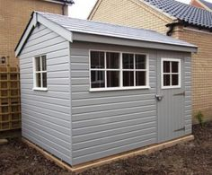 Superior Shed with Valtti Paint Our customer was looking for a relatively small size garden shed to use as a garden office. She chose a x Superior Garden Shed with an apex roof finished in grey slate effect tiles, which was complemented by a pebbl Painted Garden Sheds, Painted Shed, Garden Sheds Uk, Small Shed Plans, Small Sheds, Small Garden With Shed, West Yorkshire, Apex Roof, Cheap Sheds