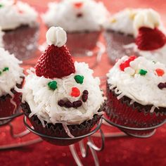 Hot Chocolate Cupcakes | SimplyCelebrate.Meals.com - Add these eye-catching coconut and strawberry covered cupcakes to your Christmas dessert tray! #christmas #simplycelebrate