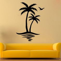 58 Trendy Ideas For Palm Tree Drawing Etsy Simple Wall Paintings, Creative Wall Painting, Wall Painting Decor, Palm Tree Paintings, Palm Tree Silhouette, Silhouette Painting, Vinyl Decor, Wall Stickers, Wall Decals