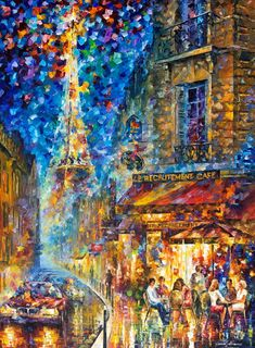 Paris Recruitment Cafe 2 — PALETTE KNIFE Oil Painting On Canvas By Leonid Afremov #afremov #leonidafremov #art #paintings #fineart #gifts #popular #colorful