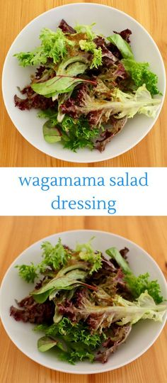 This Wagamama-inspired Salad dressing tastes just like the one from the restaurant: salty, sweet, gingery and garlicky and transforms boring salad leaves! Veggie Recipes, Asian Recipes, Whole Food Recipes, Vegetarian Recipes, Healthy Recipes, Vegan Japanese Food, Japanese Recipes, Wagamama Recipe, Caesar Salat