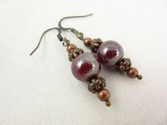 Burgundy Glass Earrings - Dangle Earrings - Copper Earrings - Handmade Earrings - Boho Jewelry - Rustic Jewelry - Gift for Her by PMOriginals on Etsy
