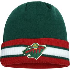 897619e84ef Men s Minnesota Wild Reebok Green Red Captain s Cuffed Knit Hat Knit Hat  For Men