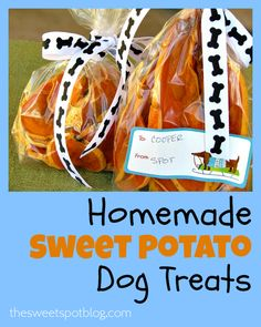 Homemade Sweet Potato Dog Treats: by The Sweet Spot Blog -- My dogs love these! --  #dogs #dachshund #dogtreats #sweetpotato