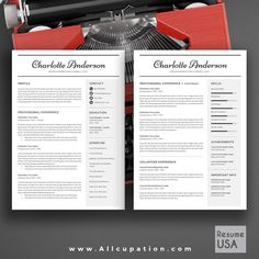 @allcupation Creative Resume Template, Modern CV Template, Word, Cover Letter, References, Instant Download, Mac, PC, CHARLOTTE | Allcupation.com | We Help You Create Powerful Resume and Win The Interview | #resume #template #resumetemplate