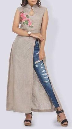 Attractive Kurtis with Jeans Style Salwar Designs, Kurta Designs Women, Kurti Designs Party Wear, Latest Kurti Designs, Dress Neck Designs, Designs For Dresses, Blouse Designs, Denim Kurti Designs, Kurtha Designs