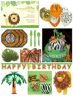 balloons, pinata, tree and favor boxes might be good for lion king party