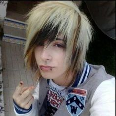 Emo boy with blonde hair