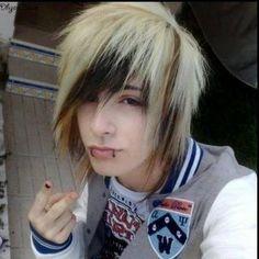 Emo boy with blonde hair