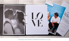 another super cute photobook (diy) idea for giving pictures to the parents. can print all photos with small white border & then print quotes on regular paper for opposite page. (to make the pages stable, glue each to cardboard.)