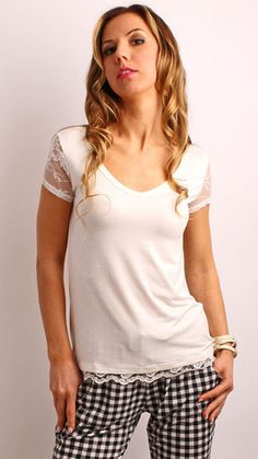 Lace Sleeves V Neck Top