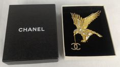 100% Authentic CHANEL Crystal Falcon CC Brooch Golden With Box #Chanel