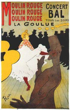 Toulouse Lautrec, Contourlijn. Benoem eens een contrast? Op de achtergrond zie je silhouetten.