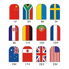 National Flag Style 12 Tips Nail Art Stickers