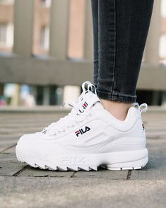 Trendy Women& Shoes 2017 - The beast is back!- Tendance Chausseurs Femme 2017 – The beast is back! Disruptor II by FILA…. – Trendy Women& Shoes 2017 – The beast is back! Disruptor II by FILA …. Sneakers Mode, Sneakers Fashion, Fashion Shoes, Fila White Sneakers, Women's Shoes Sneakers, Tumblr Sneakers, Skechers Sneakers, Sneakers Adidas, Fashion Outfits