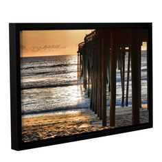Fishing Pier by Steve Ainsworth Floater Framed Photographic Print on Gallery Wrapped Canvas