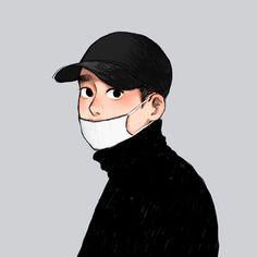 Exo Cartoon, Dope Cartoon Art, Cartoon Art Styles, Kyungsoo, Kawaii Drawings, Cute Drawings, Exo Anime, Exo Fan Art, Kpop Fanart