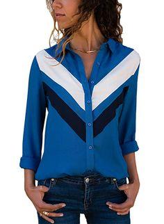 d18c73e9ab9b4 Astylish Womens Plus Size Autumn V Neck Long Sleeve Color Block Stripes  Button up T Shirts