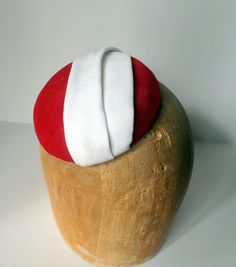 Red And White Sued Cocktail Hat Pillbox Headpiece by ChefBizzaro, $75.00