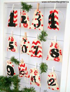 Stencilled Muslin Bag Advent Calendar