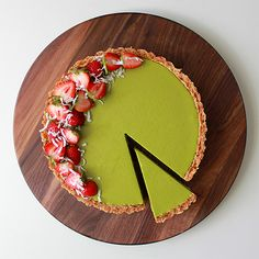 Matcha custard filling in a coconut tart Custard Tart, Custard Filling, Tart Recipes, Sweet Recipes, Dessert Recipes, Sweet Pie, Sweet Tarts, Just Desserts, Delicious Desserts