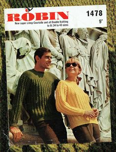 Items similar to PDF Ladies & Men Knitting Pattern Robin 1478 Women Aran Twisted Cable Unusual Unisex Retro Larger Sizes Country Groovy Mod Preppy on Etsy Sweater Knitting Patterns, Crochet Patterns, Knitting Ideas, Vintage Knitting, Double Knitting, Retro Outfits, Vintage Patterns, Retro Clothing, Robin
