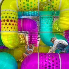All images © A\V Studio They say the city is an urban jungle. But an urban jungle gym? A\V Studio's new design for a spunky tubular playground at the foot of. Work Status, Jungle Gym, Playground Design, Space Gallery, Happy Fun, Bars For Home, Experiential, Three Dimensional, Lava Lamp