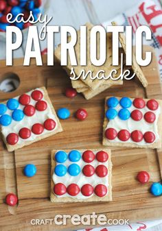 Your kids will love this easy and yummy patriotic snack. A great treat for of July, Memorial Day, and every patriotic event! Have fun making a simple Graham Cracker Candy Dessert! 4th July Crafts, Fourth Of July Crafts For Kids, Fourth Of July Food, Summer Crafts For Kids, Patriotic Crafts, 4th Of July Party, July 4th, Kids Crafts, Daycare Crafts