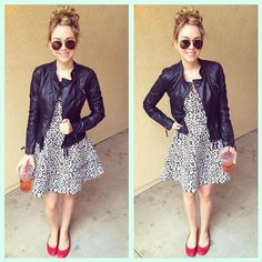 Black and white leopard dress, pink flats, black leather moto jacket, a pair of aviators and a topknot.