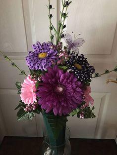 Cemetery Flowers..Memorial Flowers..Cemetery Vase..Graveside Flowers..Purple & Pink Silk Flowers..In Loving Memory