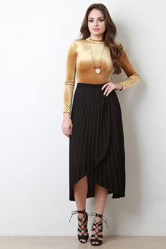 @modaonpoint This maxi skirt features lightweight chiffon, pleated design, elasticized waist, tulip hem, and finished with partial lining. Accessories sold separately. 100% Polyester. Contrast: 100% Polyester.