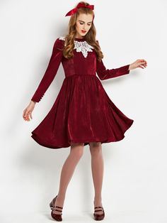 Meryl Lace Patchwork Long Sleeve Women s Skater Dress 14119f5e9