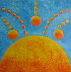 KIN SOL MAYA    Medium oil on canvas Dimensions: 85 x 85 cm Colection: Rayito de sol Year: 2012 By: Laurelena Rodríguez www.laurelena.com