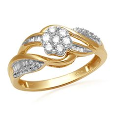 1/2 CT. T.W. Diamond Cluster Bypass Ring in 10K Gold zales 500