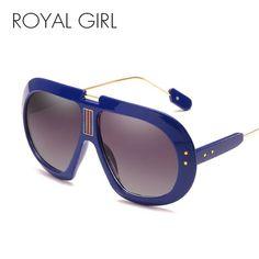 6abe688f071 Royal Girl Oversize Sunglasses Men Vintage Black Clear Women Retro Rivet  Big Frame Ss733