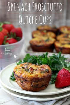 These mini spinach prosciutto quiche cups are perfect for your next brunch and are even great served alongside a salad for a light lunch. The addition of prosciutto takes the flavor to the next level and is a nice change [. Quiche Cups, Spinach Quiche, Baby Spinach, Frittata, Healthy Snacks, Healthy Recipes, Healthy Eating, Healthy Breakfasts, Protein Snacks
