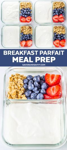 Make Ahead Breakfast Parfait Meal Prep - Knock out your breakfasts in just five minutes with this easy parfait breakfast meal prep that's healthy, easy and quick. You are healthy, we are Happy Healthy Breakfast Recipes, Easy Healthy Recipes, Healthy Togo Lunches, Recipes For Meal Prep, Meal Prep For Breakfast, Quick Easy Breakfast, Easy Lunch Meal Prep, Breakfast Ideas, Easy Healthy Meal Prep