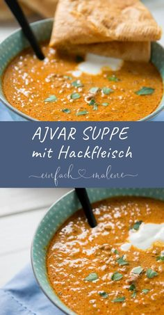 This aromatic ajvar soup with minced meat is prepared super fix and will appeal to anyone who likes it a bit spicy. Ideal for the slowcooker.Informations About Diese aromatische Ajvar Suppe mit Hackfleisch ist super fix zubereitet und wird Meat Recipes, Dinner Recipes, Healthy Recipes, Carne Picada, Mince Meat, Cooking Time, Food Network Recipes, The Best, Good Food
