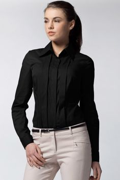 Camasa neagra femei casual sau office! Dyt Type 4 Clothes, Smart Casual, Unique Fashion, Work Wear, Button Up, Long Sleeve Tops, Tees, Shirts, Leather Jacket