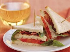 Mini Bacon, Tomato, and Basil Sandwiches | Easy sandwiches are great for all kinds of parties—from luncheons and teas to cocktail buffets and cookouts.