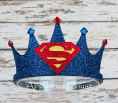 Superman crown superman birthday crown superman headband boy birthday crown first birthday crown baby boy birthday crown superhero crown Superman Party, Superhero Party, First Birthday Crown, Baby Boy Birthday, Birthday Crowns, Make A Crown, Birthday Pictures, Mask For Kids, First Birthdays