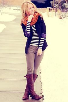 Beige leggings, black and white striped long sleeve t-shirt, black blazer, scarf, brown boots #invertedtriangle