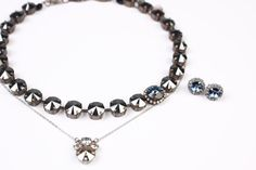 Rhinestone Cowboy Manhattan Choker paired with Edition Chic & Cool Cluster Necklace and Heart & Stripes Sabika Grace Studs